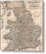 1830 Pigot Pocket Map Of England And Wales Metal Print