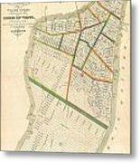 1831 Hooker Map Of New York City Metal Print