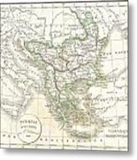 1832 Delamarche Map Of Greece And The Balkans Metal Print