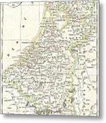 1832 Delamarche Map Of Holland And Belgium Metal Print