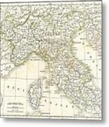 1832 Delamarche Map Of Northern Italy And Corsica Metal Print