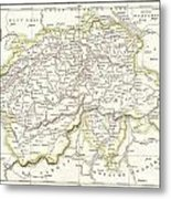 1832 Delamarche Map Of Switzerland Metal Print