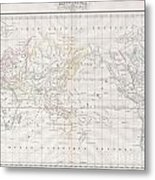 1832 Malte Brun Map Of The World On Mercator Projection Metal Print