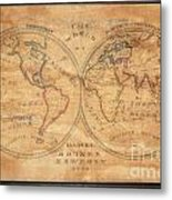 1833 School Girl Manuscript Wall Map Of The World On Hemisphere Projection  Metal Print
