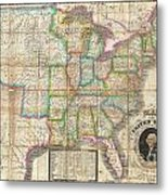 1835 Webster Map Of The United States Metal Print
