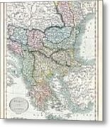 1836 Cary Map Of Greece And The Balkans Metal Print