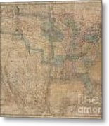 1839 Burr Wall Map Of The United States  Metal Print