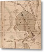 1840 Manuscript Map Of The Collect Pond And Five Points New York City Metal Print
