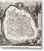 1852 Levasseur Map Of The Department Du Puy De Dome France Metal Print