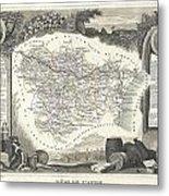 1852 Levasseur Map Of The Department L Aude France Metal Print