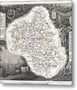 1852 Levasseur Map Of The Department L Aveyron France Roquefort Cheese Region Metal Print