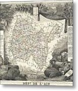 1852 Levasseur Map Of The Department L'ain France Bugey Wine Region Metal Print