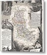 1852 Levasseur Mpa Of The Department De La Loire France Loire Valley Region Metal Print