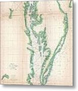 1852 Us. Coast Survey Chart Or Map Of The Chesapeake Bay And Delaware Bay Metal Print