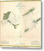 1853 Us Coast Survey Chart Or Map Of St Georges Sound Florida Metal Print