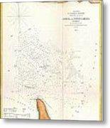 1853 Us Coast Survey Map Of The Romer And Flynns Shoals Near Coney Island New York Metal Print
