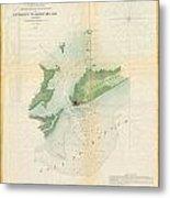 1853 Us Coast Survey Map Or Chart Of Bartaria Bay Louisiana Metal Print