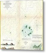 1853 Us Coast Survey Map Or Chart Of Sow And Pigs Reef Off Marthas Vineyard Massachussetts Metal Print