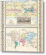 1855 Antique World Maps Illustrating Principal Features Of Meteorology Rain And Principal Plants Metal Print
