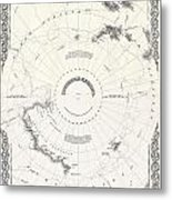 1855 Colton Map Of Antarctica The South Pole Or The Southern Polar Regions Metal Print