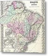 1855 Colton Map Of Brazil And Guyana Metal Print