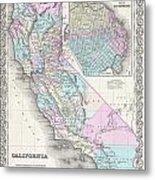 1855 Colton Map Of California And San Francisco Metal Print
