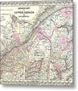 1855 Colton Map Of Canada East Or Quebec Metal Print