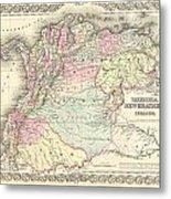1855 Colton Map Of Columbia Venezuela And Ecuador Metal Print