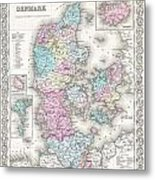 1855 Colton Map Of Denmark Metal Print