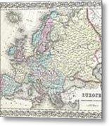 1855 Colton Map Of Europe Metal Print