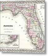 1855 Colton Map Of Florida Metal Print