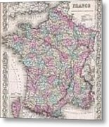 1855 Colton Map Of France Metal Print