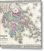 1855 Colton Map Of Greece  Metal Print