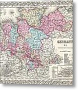 1855 Colton Map Of Hanover And Holstein Germany Metal Print