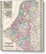 1855 Colton Map Of Holland And Belgium Metal Print