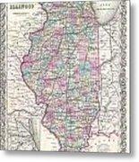 1855 Colton Map Of Illinois Metal Print
