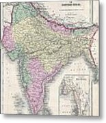 1855 Colton Map Of India Or Hindostan Metal Print