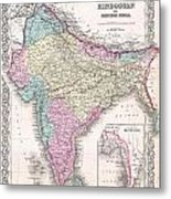 1855 Colton Map Of India Metal Print