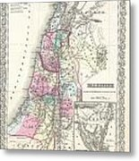 1855 Colton Map Of Israel Palestine Or The Holy Land Metal Print