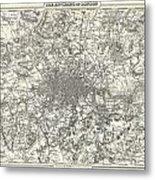 1855 Colton Map Of London Metal Print