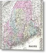 1855 Colton Map Of Maine Metal Print