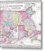 1855 Colton Map Of Massachusetts And Rhode Island Metal Print