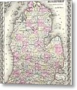 1855 Colton Map Of Michigan Metal Print