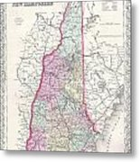 1855 Colton Map Of New Hampshire Metal Print