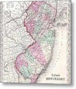 1855 Colton Map Of New Jersey Metal Print