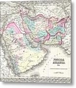 1855 Colton Map Of Persia Afghanistan And Arabia Metal Print