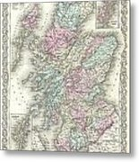 1855 Colton Map Of Scotland Metal Print
