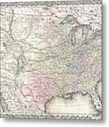 1855 Colton Map Of The United States  Metal Print