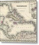 1855 Colton Map Of The West Indies Metal Print