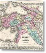 1855 Colton Map Of Turkey Iraq And Syria Metal Print